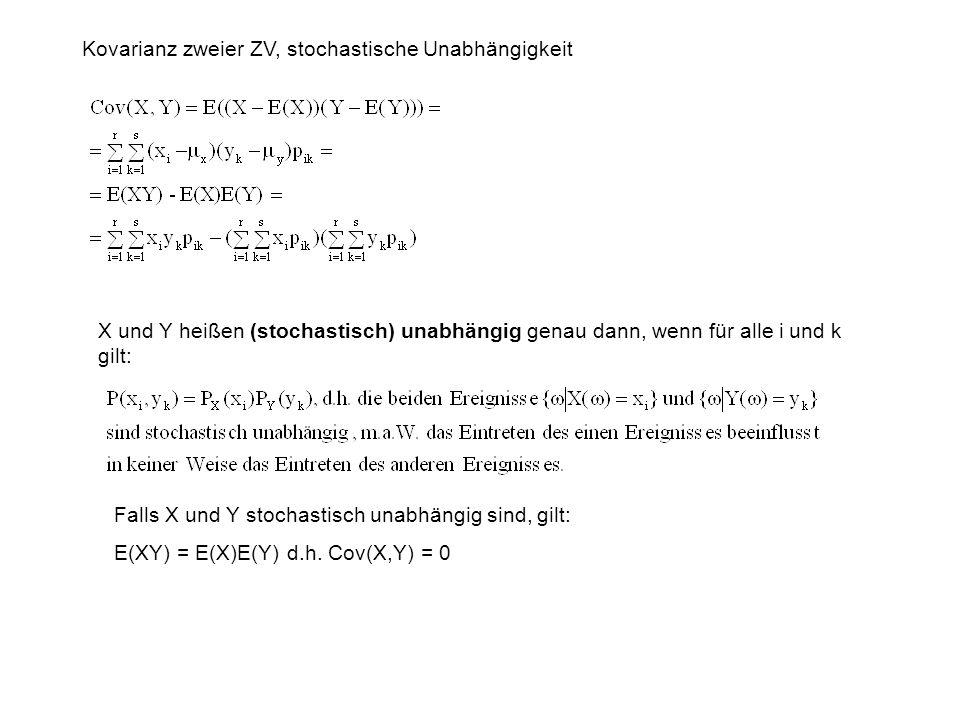 Kovarianz zweier ZV, stochastische Unabhängigkeit