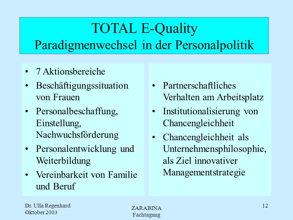TOTAL E-Quality Paradigmenwechsel in der Personalpolitik
