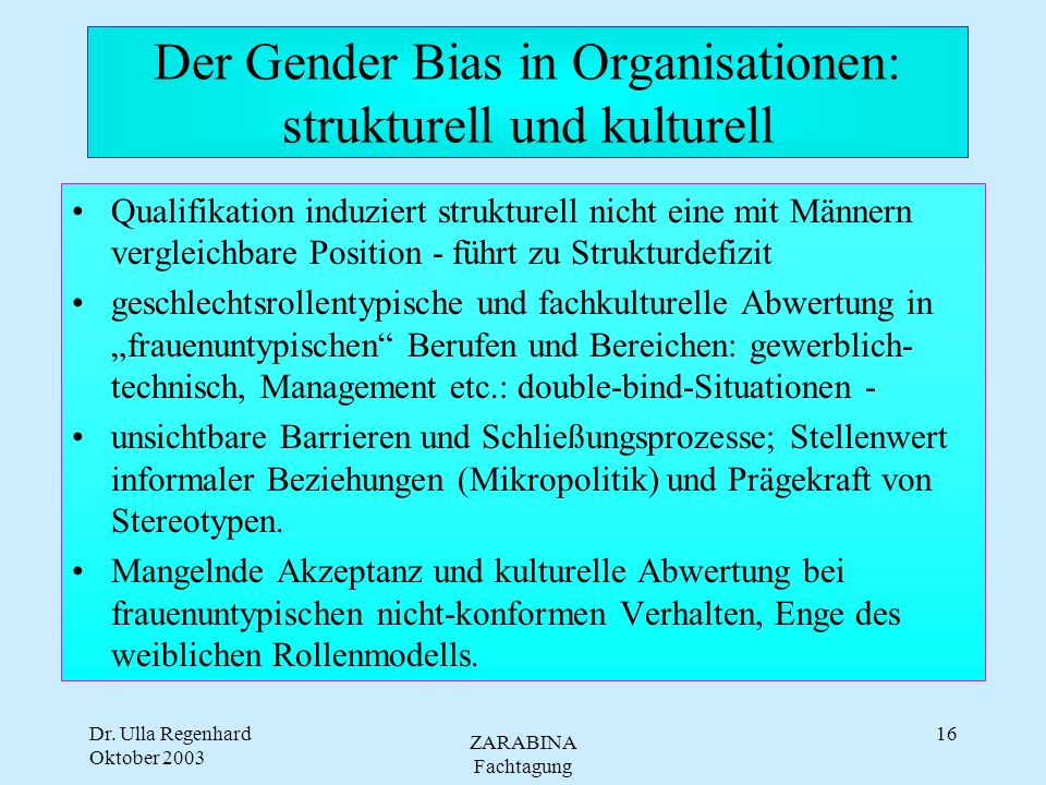 Der Gender Bias in Organisationen: strukturell und kulturell