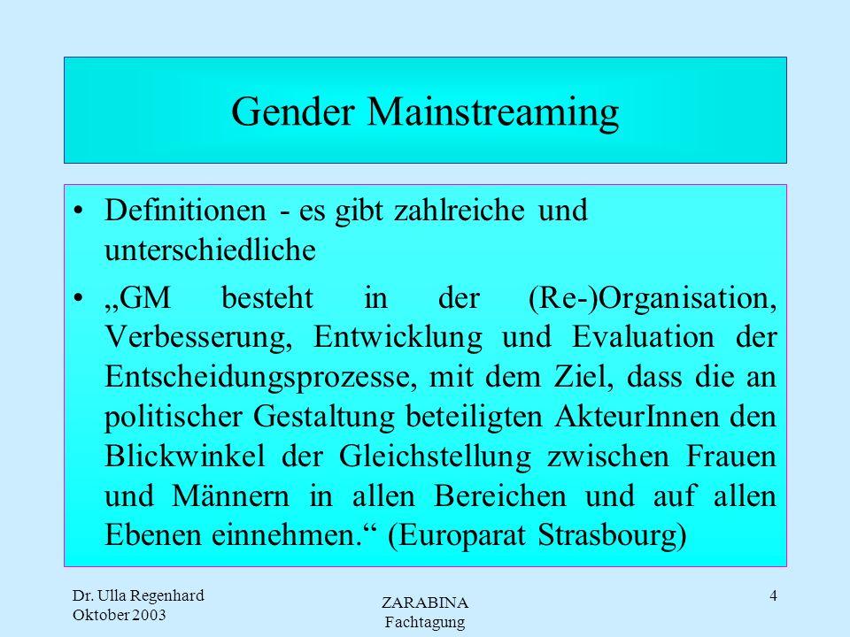 Gender Mainstreaming Definitionen - es gibt zahlreiche und unterschiedliche.
