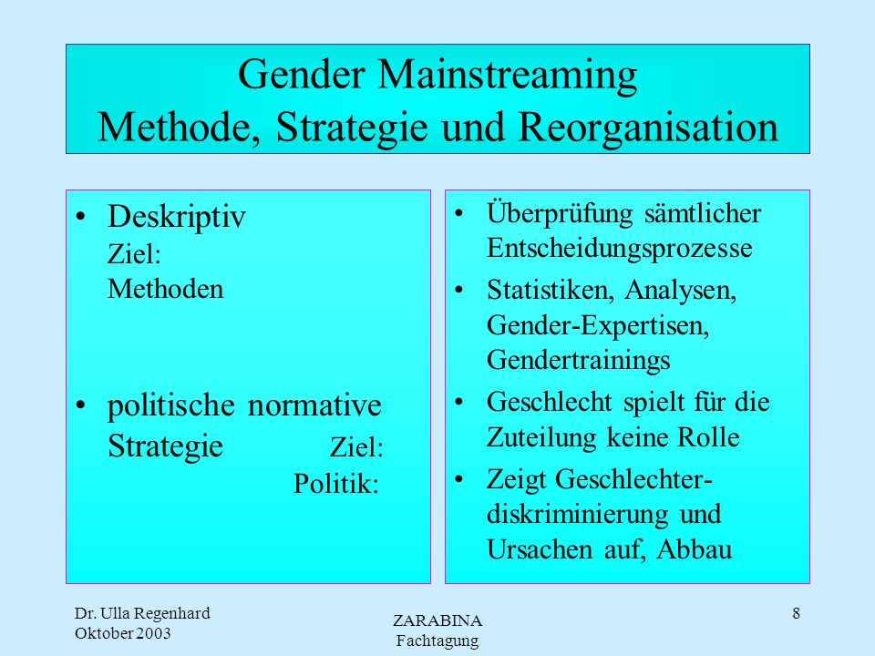 Gender Mainstreaming Methode, Strategie und Reorganisation