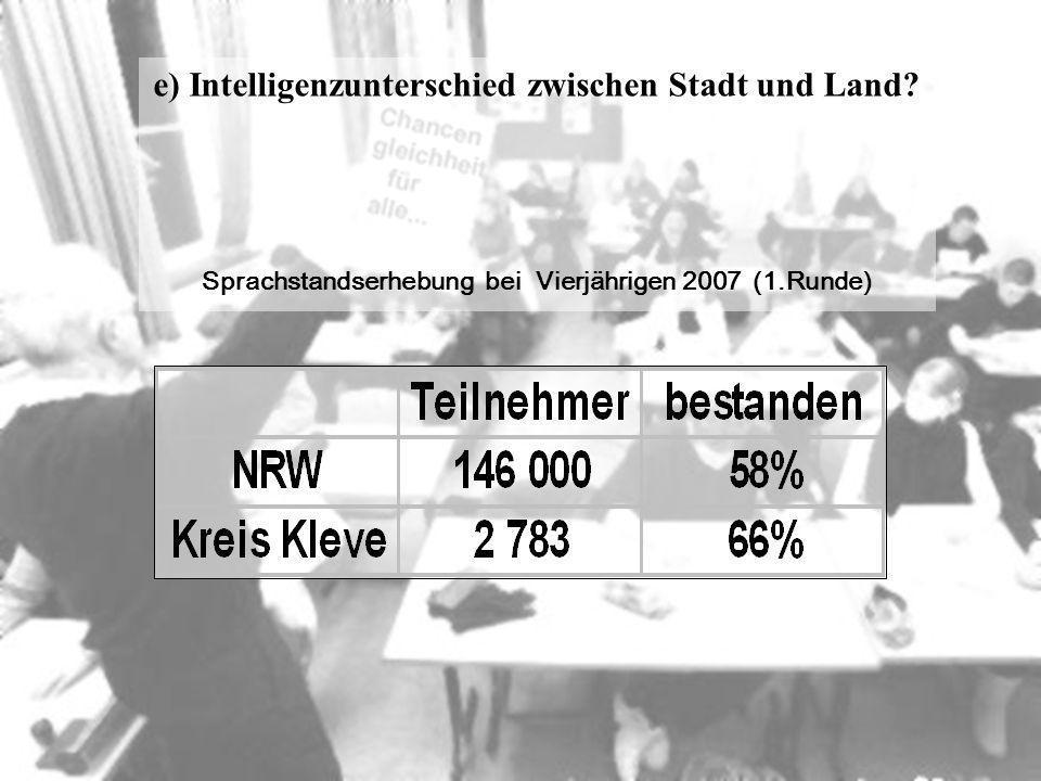 e) Intelligenzunterschied zwischen Stadt und Land