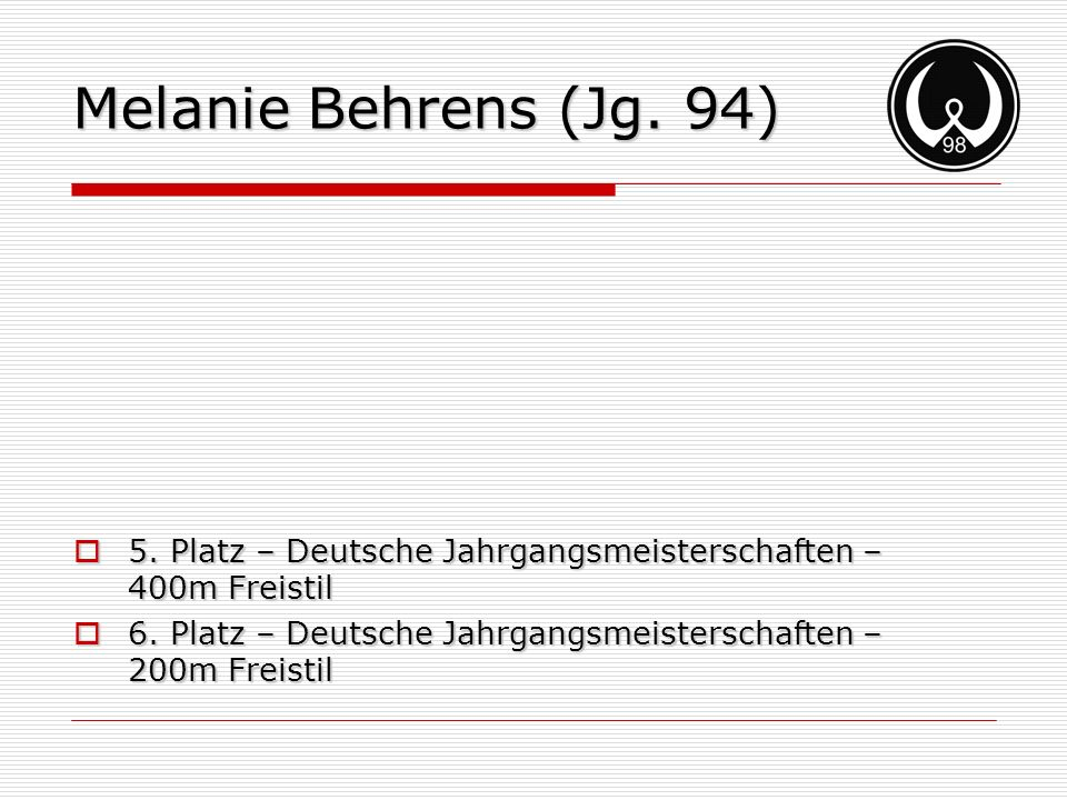Melanie Behrens (Jg. 94) 5. Platz – Deutsche Jahrgangsmeisterschaften – 400m Freistil.