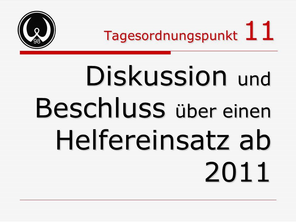 Diskussion und Beschluss über einen Helfereinsatz ab 2011
