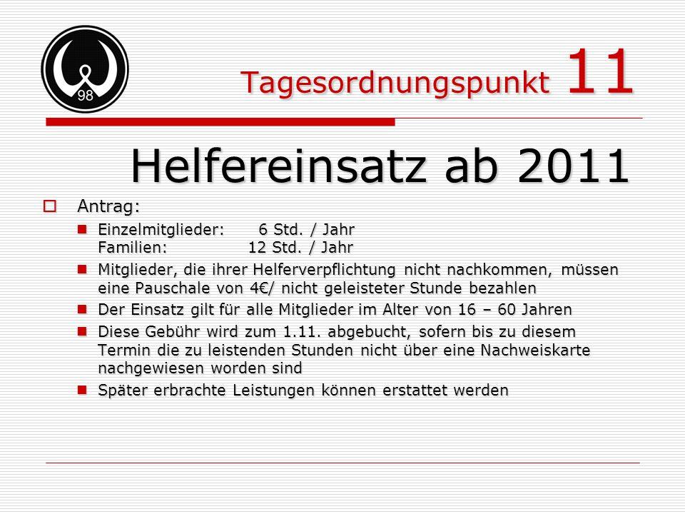Helfereinsatz ab 2011 Tagesordnungspunkt 11 Antrag: