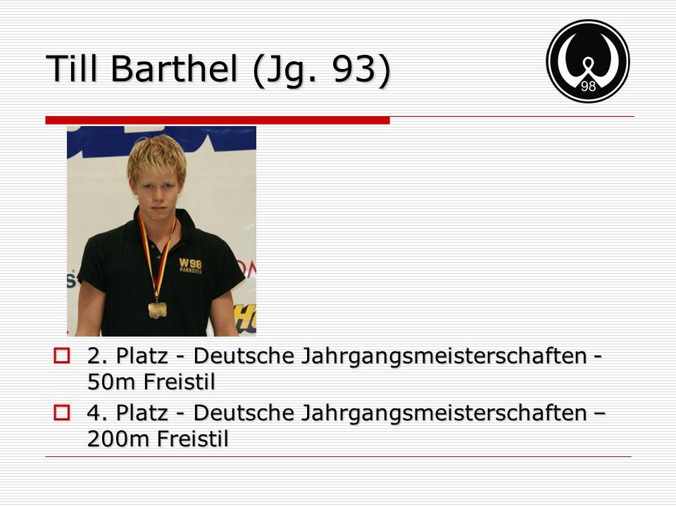 Till Barthel (Jg. 93) 2. Platz - Deutsche Jahrgangsmeisterschaften - 50m Freistil.
