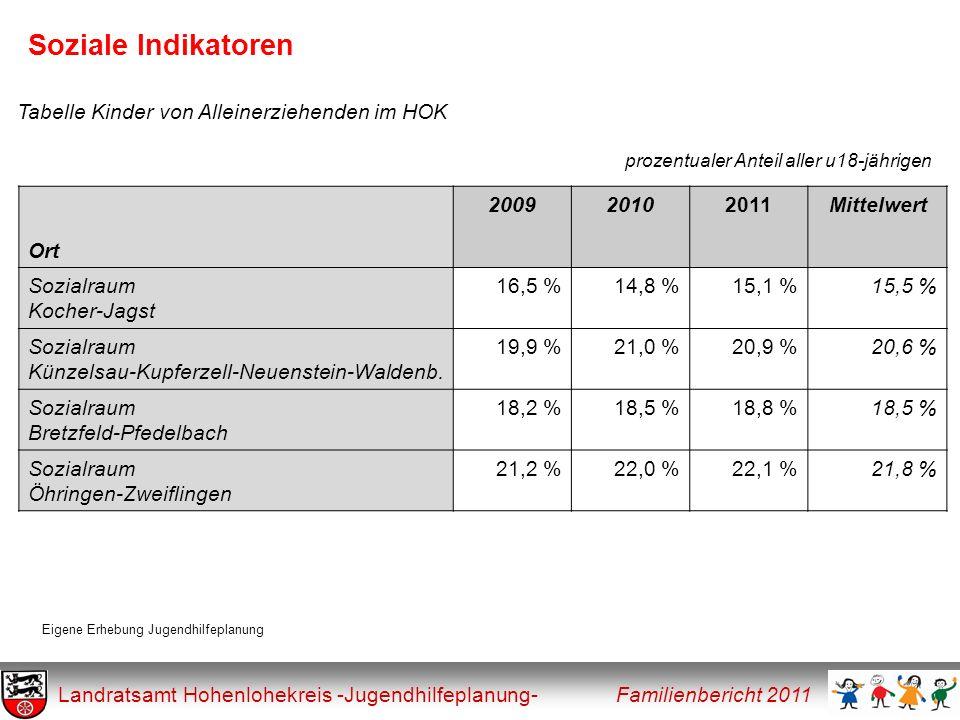 Soziale Indikatoren Tabelle Kinder von Alleinerziehenden im HOK Ort