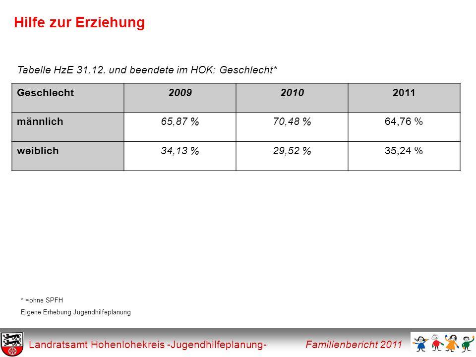 Hilfe zur Erziehung Tabelle HzE 31.12. und beendete im HOK: Geschlecht* Geschlecht. 2009. 2010. 2011.