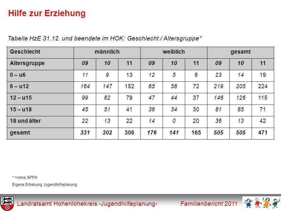 Hilfe zur Erziehung Tabelle HzE 31.12. und beendete im HOK: Geschlecht / Altersgruppe* Geschlecht.