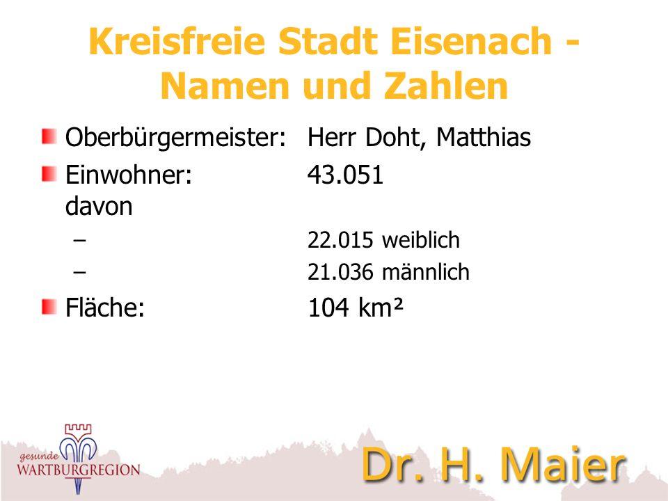 Kreisfreie Stadt Eisenach - Namen und Zahlen