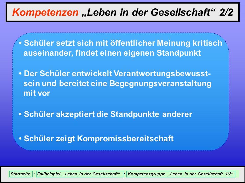 """Kompetenzen """"Leben in der Gesellschaft 2/2"""