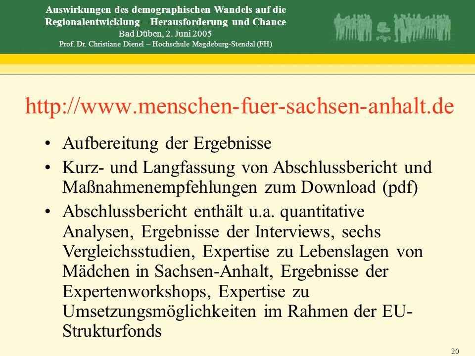 http://www.menschen-fuer-sachsen-anhalt.de Aufbereitung der Ergebnisse