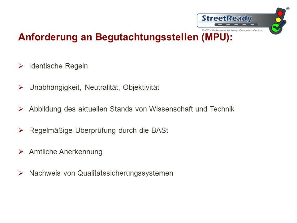 Anforderung an Begutachtungsstellen (MPU):