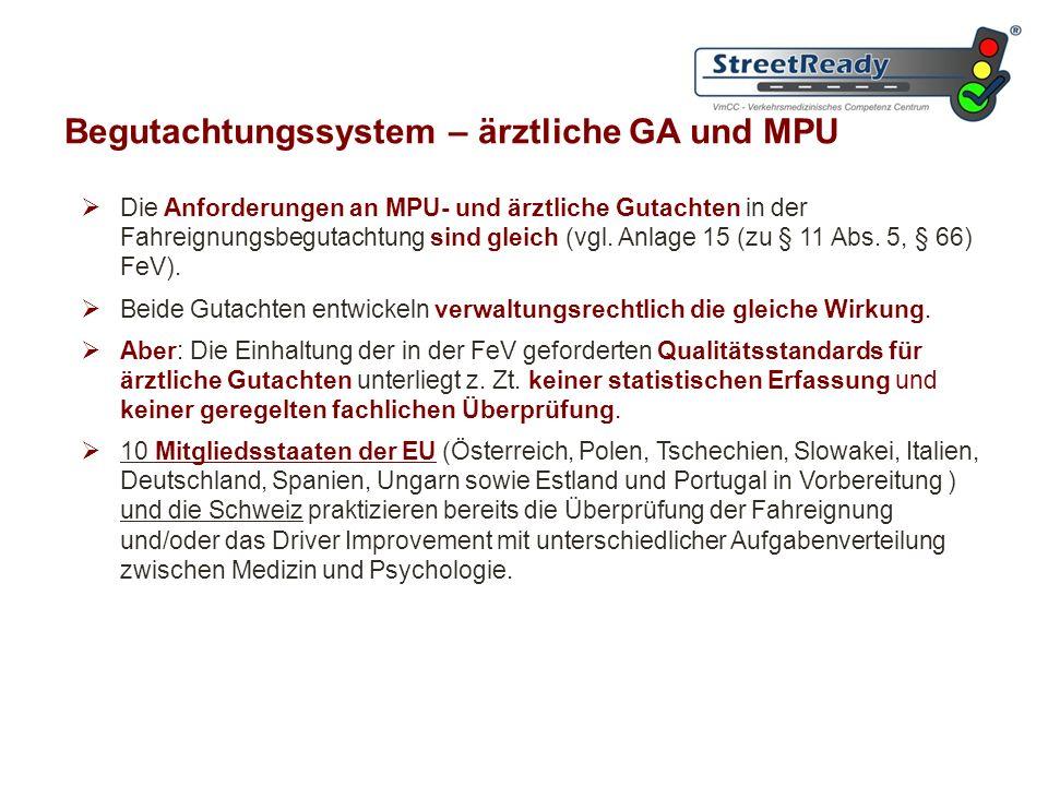 Begutachtungssystem – ärztliche GA und MPU