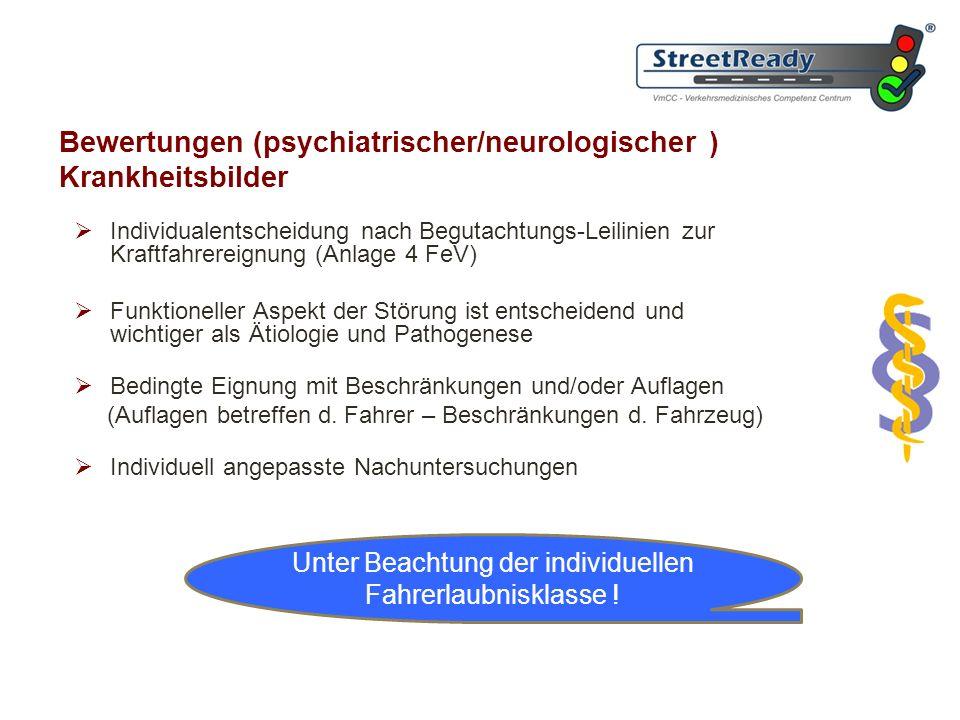 Bewertungen (psychiatrischer/neurologischer ) Krankheitsbilder