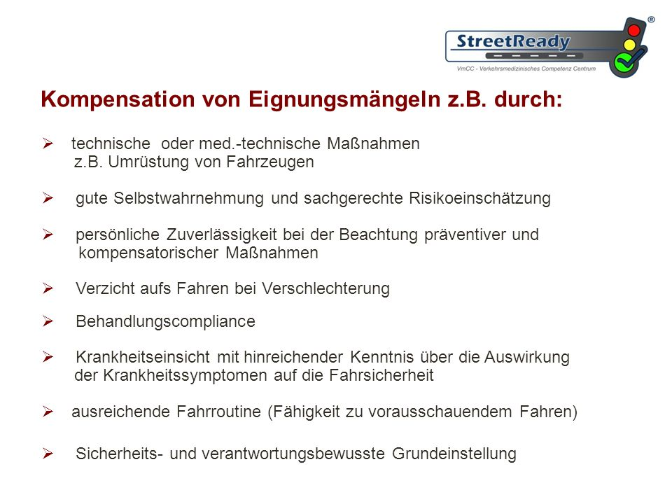 Kompensation von Eignungsmängeln z.B. durch: