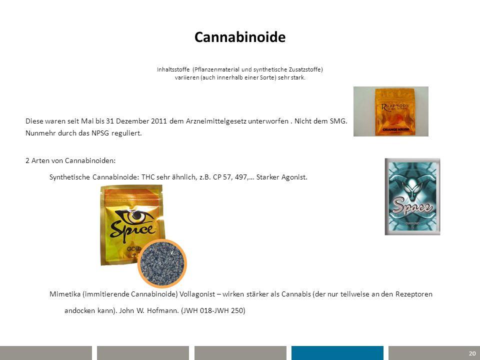 Cannabinoide Inhaltsstoffe (Pflanzenmaterial und synthetische Zusatzstoffe) variieren (auch innerhalb einer Sorte) sehr stark.