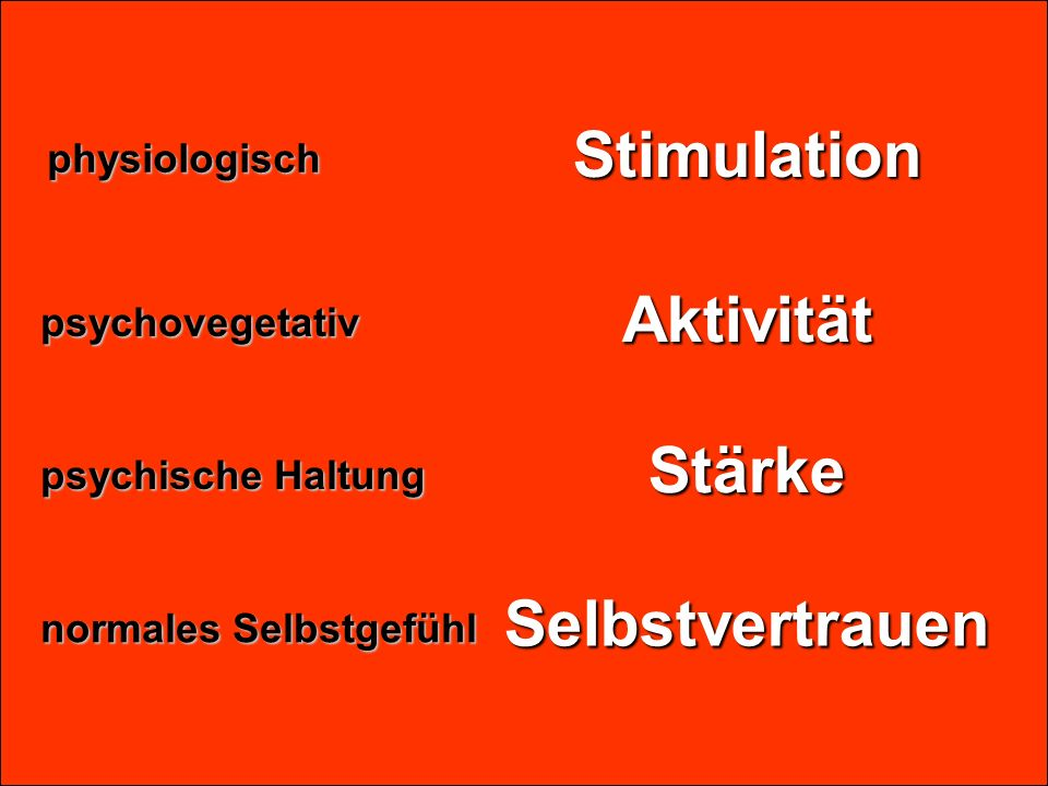 Stimulation Aktivität Stärke Selbstvertrauen