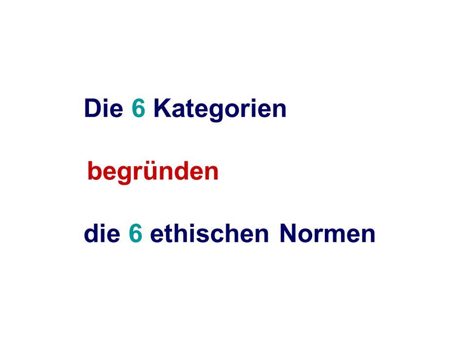 Die 6 Kategorien begründen die 6 ethischen Normen