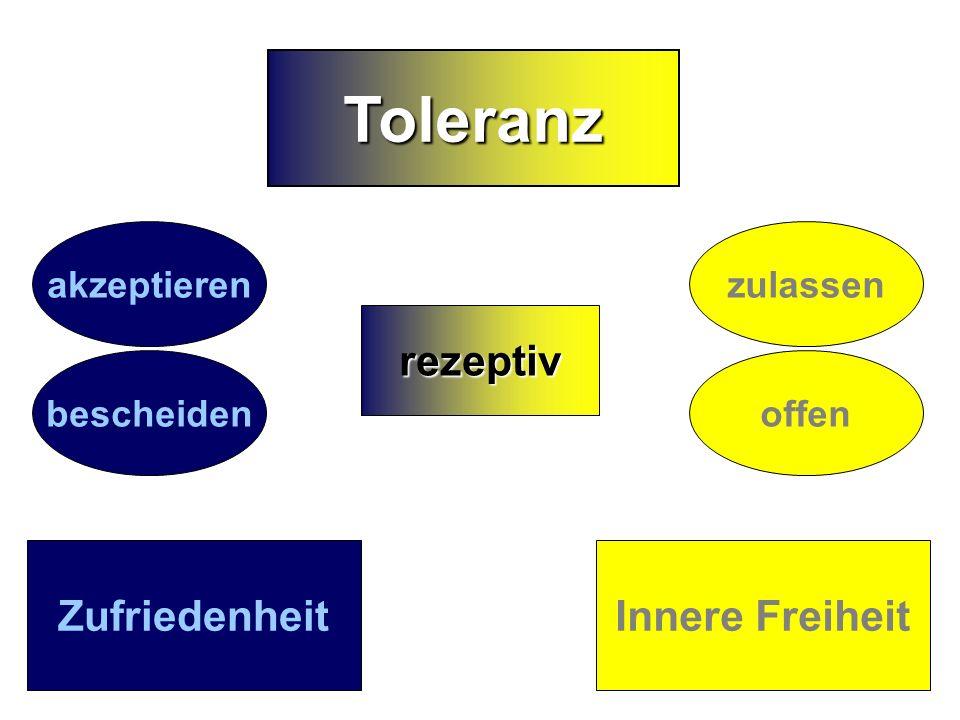 1 4 Toleranz rezeptiv Zufriedenheit Innere Freiheit akzeptieren