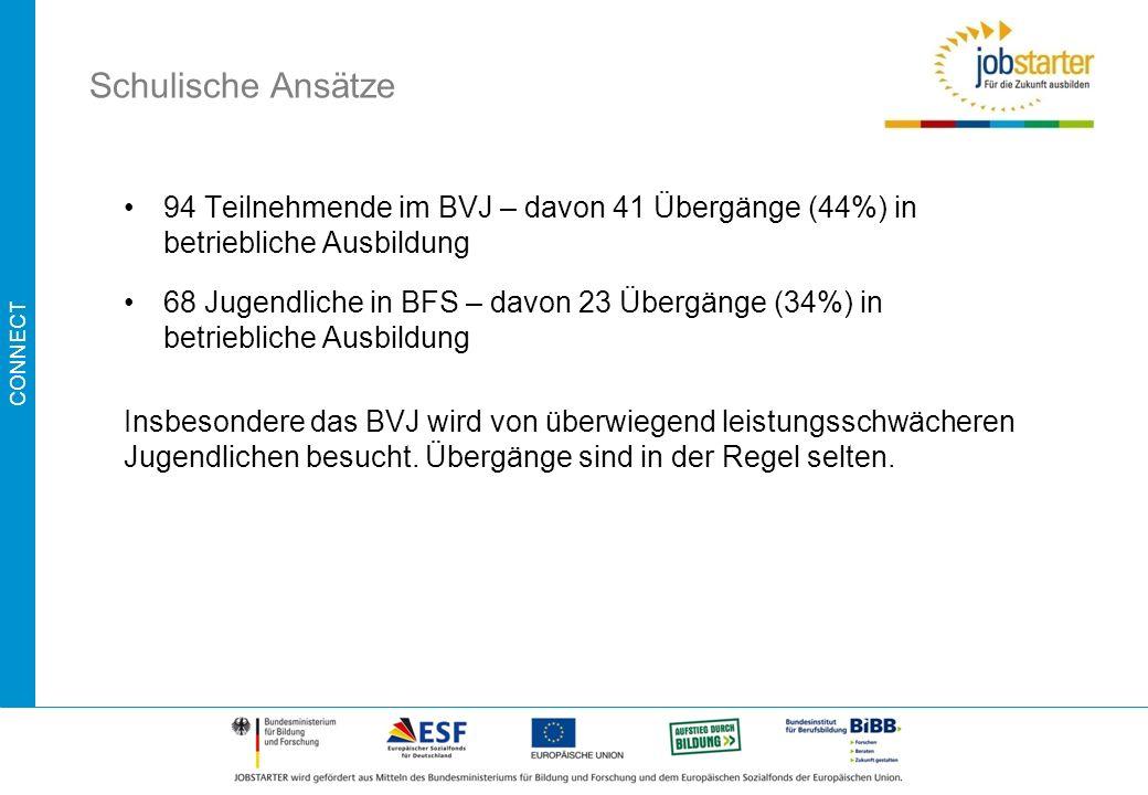 Schulische Ansätze 94 Teilnehmende im BVJ – davon 41 Übergänge (44%) in betriebliche Ausbildung.