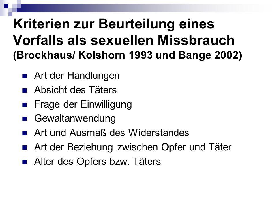 Kriterien zur Beurteilung eines Vorfalls als sexuellen Missbrauch (Brockhaus/ Kolshorn 1993 und Bange 2002)
