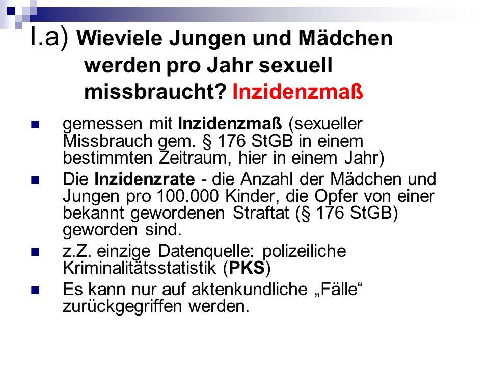 I. a) Wieviele Jungen und Mädchen werden pro Jahr sexuell missbraucht