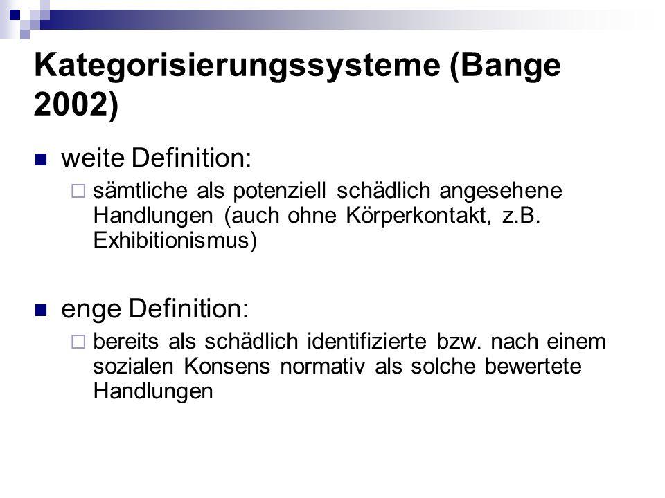 Kategorisierungssysteme (Bange 2002)