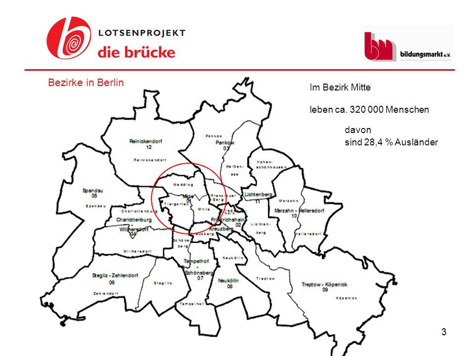 Bezirke in Berlin Im Bezirk Mitte leben ca. 320 000 Menschen davon