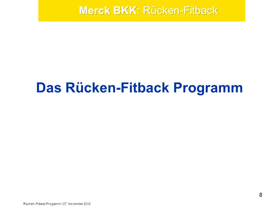 Das Rücken-Fitback Programm