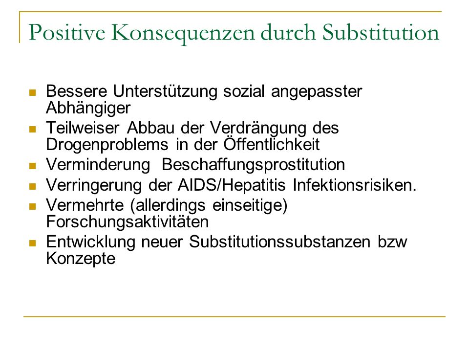 Positive Konsequenzen durch Substitution