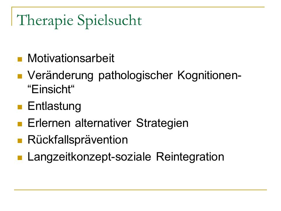 Therapie Spielsucht Motivationsarbeit