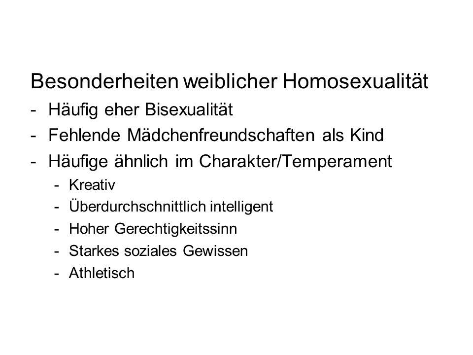 Besonderheiten weiblicher Homosexualität