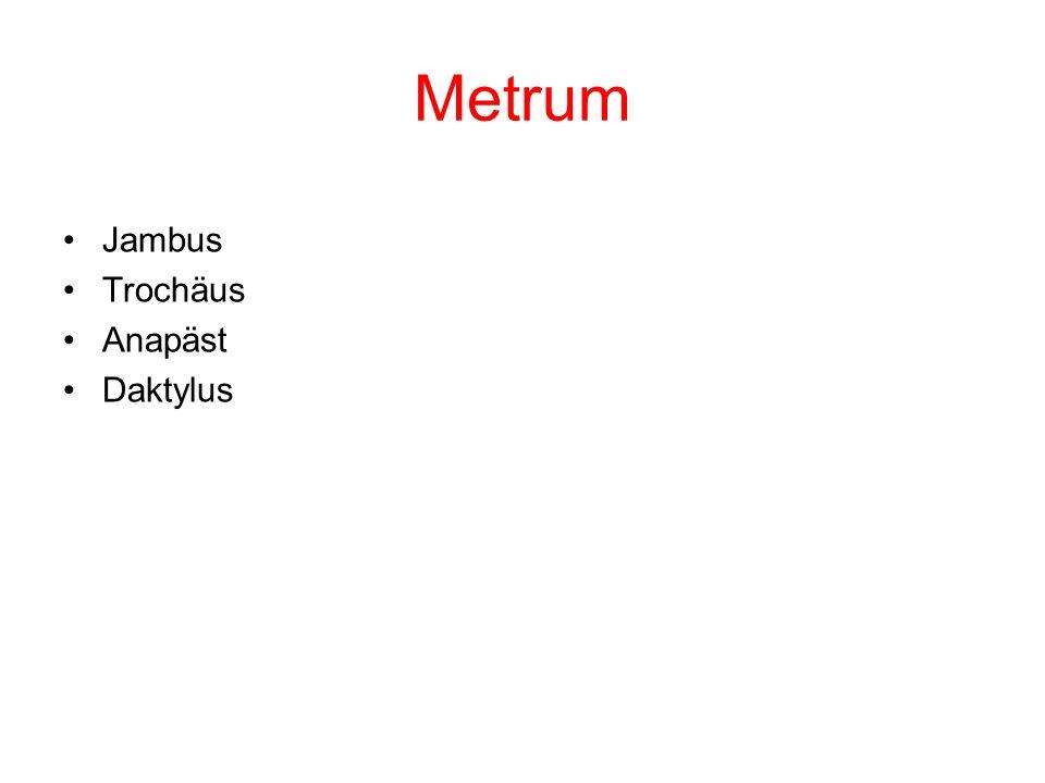 Metrum Jambus Trochäus Anapäst Daktylus