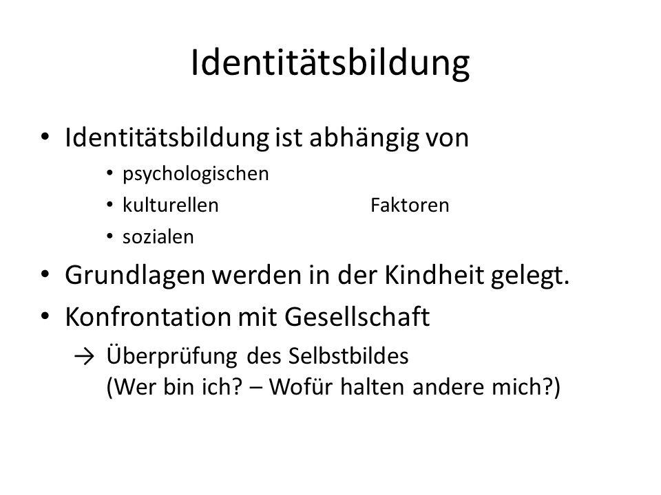 Identitätsbildung Identitätsbildung ist abhängig von