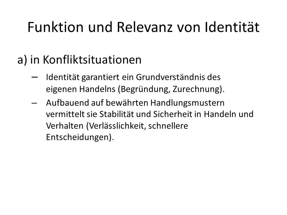 Funktion und Relevanz von Identität
