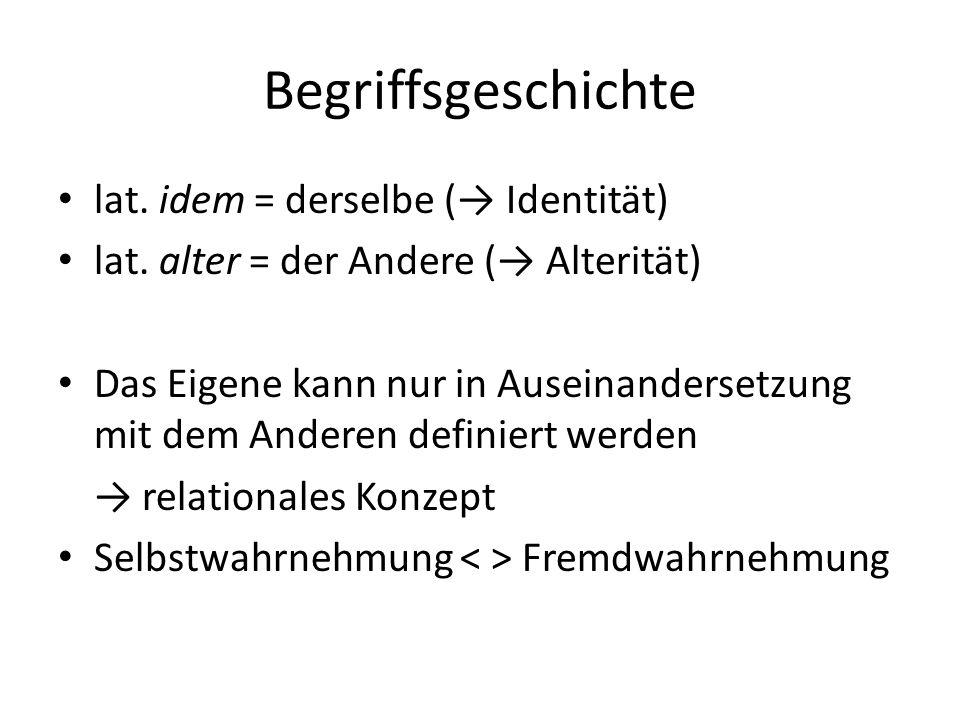 Begriffsgeschichte lat. idem = derselbe (→ Identität)