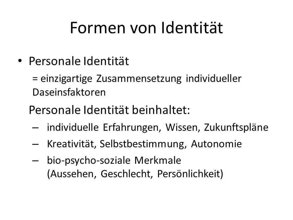 Formen von Identität Personale Identität