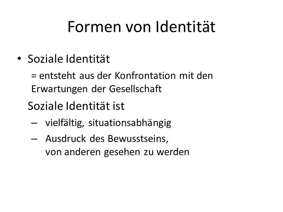 Formen von Identität Soziale Identität Soziale Identität ist
