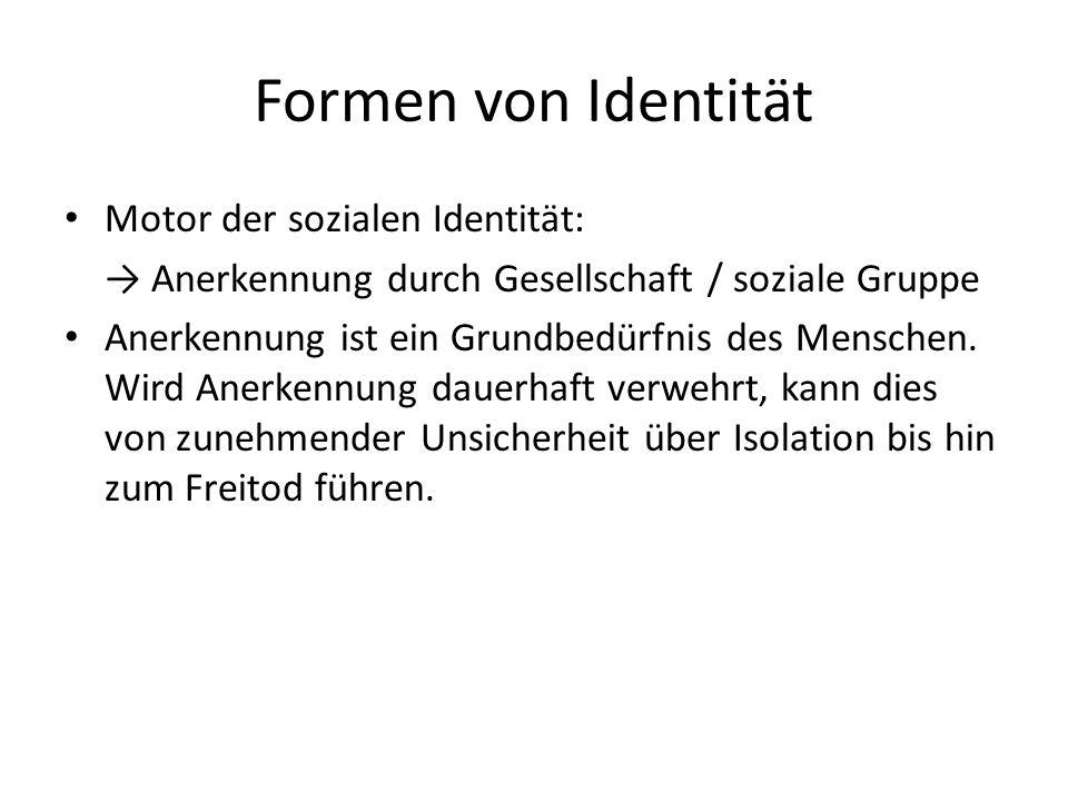 Formen von Identität Motor der sozialen Identität: