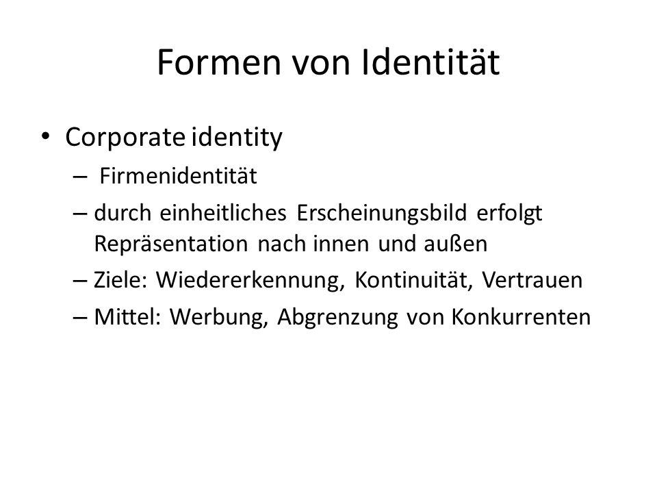 Formen von Identität Corporate identity Firmenidentität