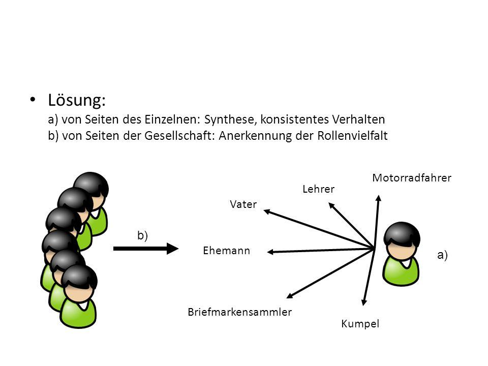 Lösung: a) von Seiten des Einzelnen: Synthese, konsistentes Verhalten b) von Seiten der Gesellschaft: Anerkennung der Rollenvielfalt