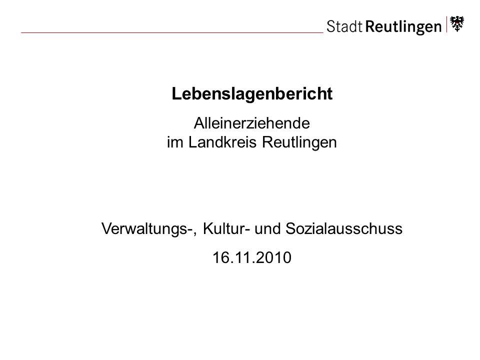 Lebenslagenbericht Alleinerziehende im Landkreis Reutlingen
