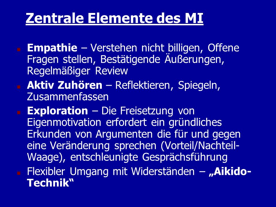 Zentrale Elemente des MI
