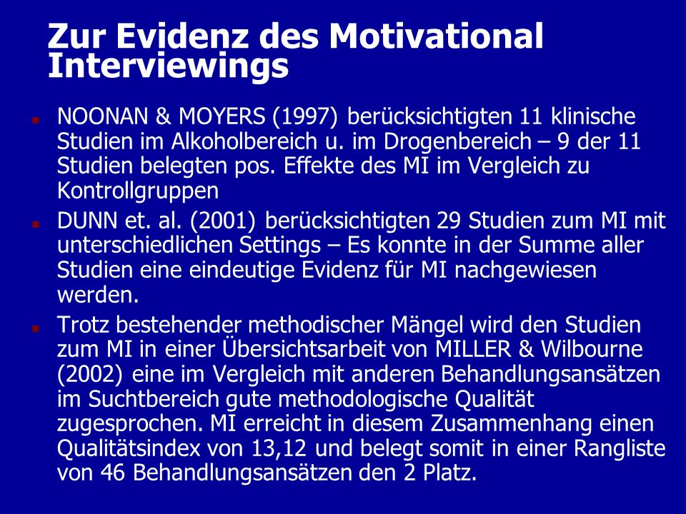 Zur Evidenz des Motivational Interviewings