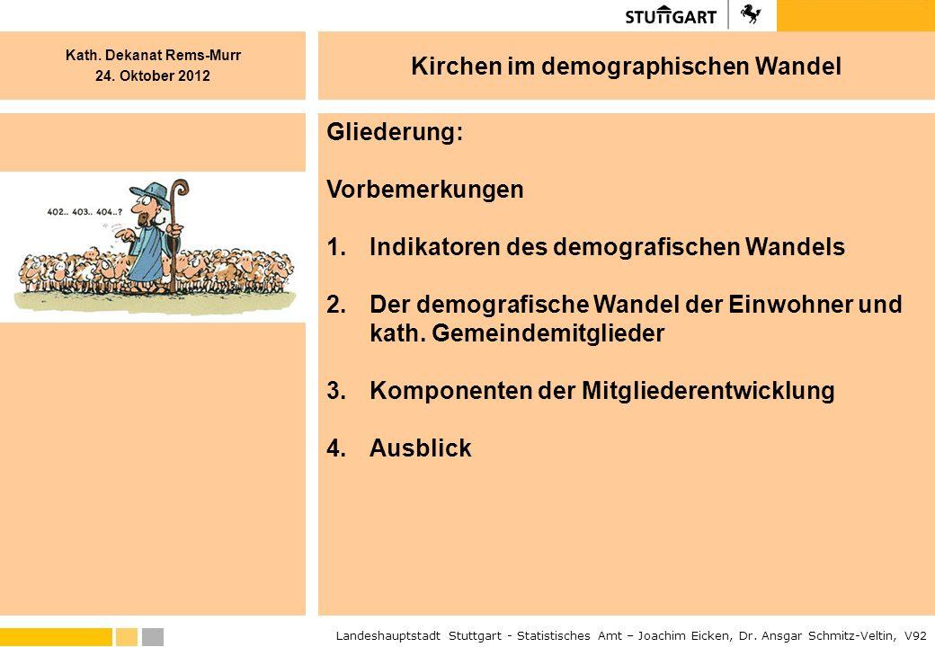 Gliederung: Vorbemerkungen. Indikatoren des demografischen Wandels. Der demografische Wandel der Einwohner und kath. Gemeindemitglieder.