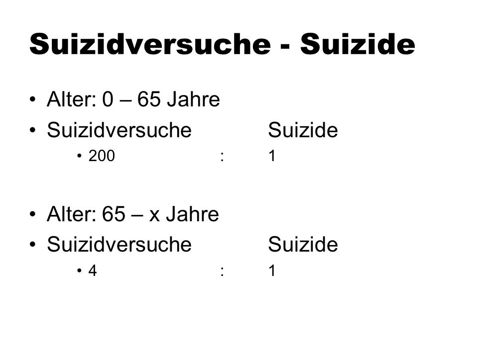 Suizidversuche - Suizide