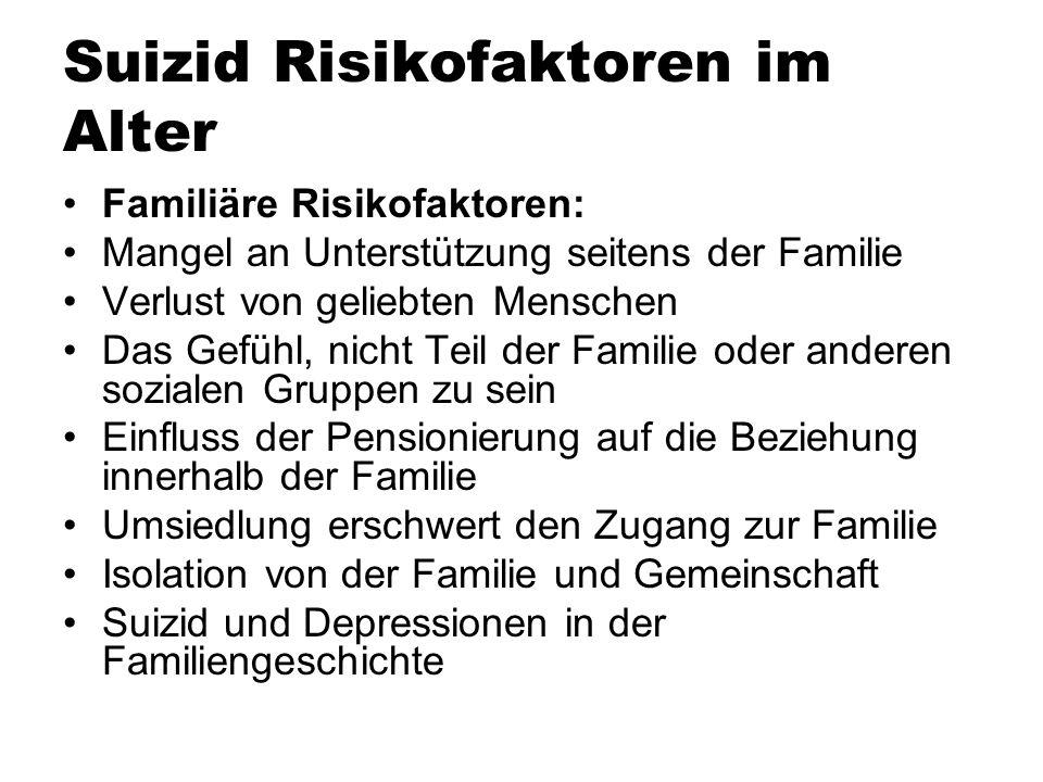 Suizid Risikofaktoren im Alter