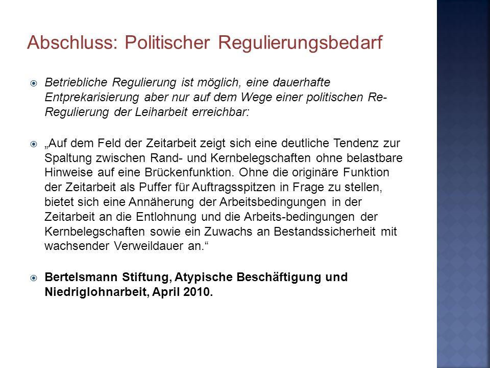 Abschluss: Politischer Regulierungsbedarf