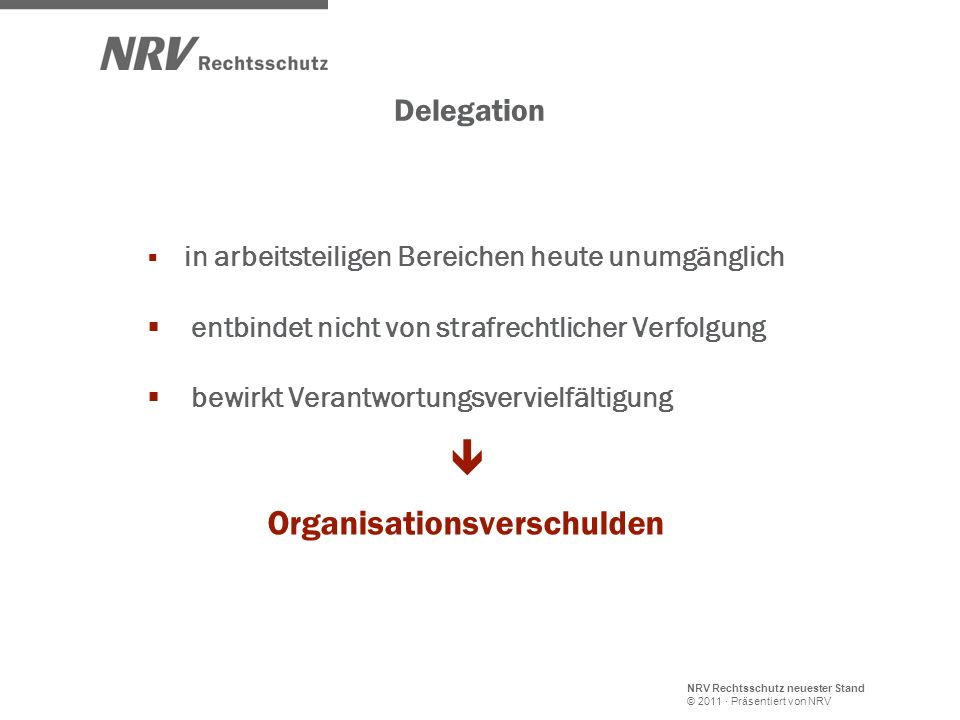  Organisationsverschulden Delegation